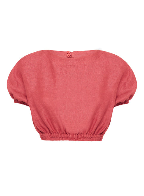 The Cropped Cocoon Blouse - Cerise