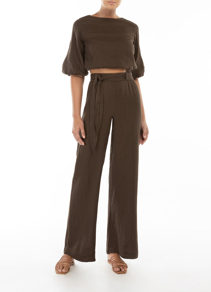 Belted Vacation Pant - Chocolate