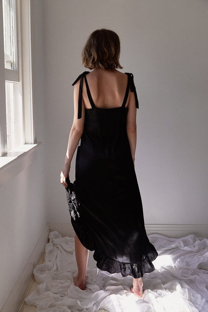 The 04 Silk Sleep Dress - Black