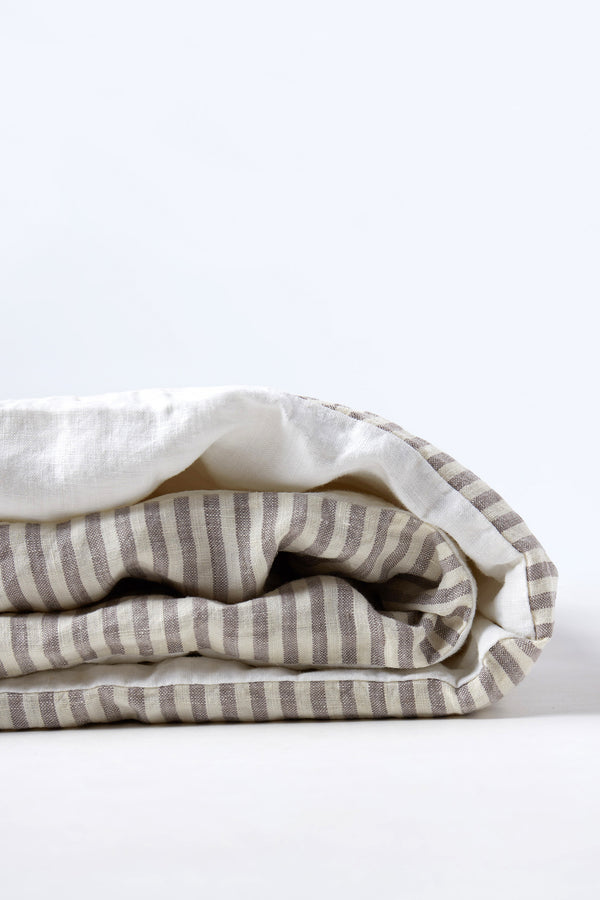 Duvet Cover - Grey Stripe/White
