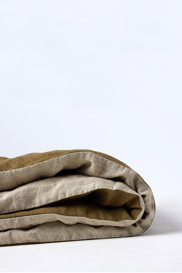 Duvet Cover - Olive/Natural