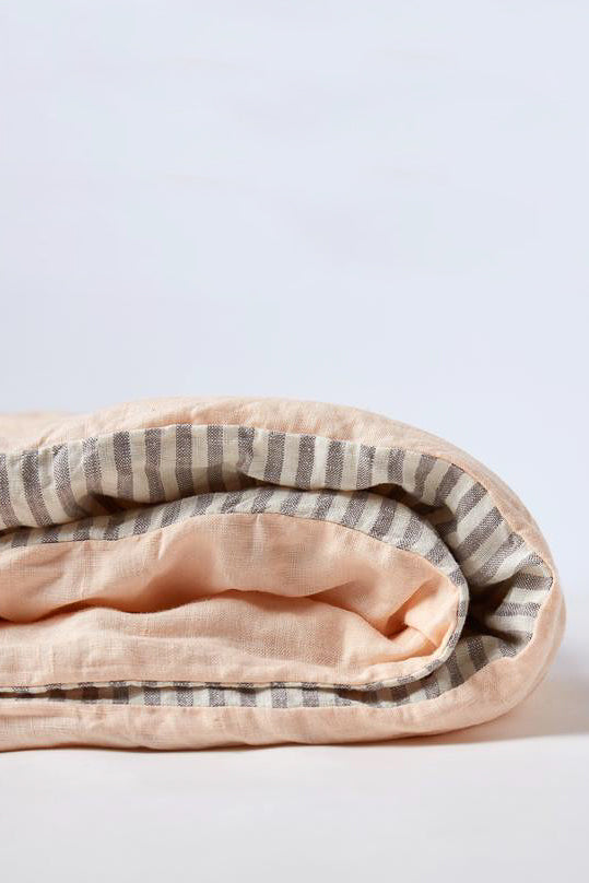 Duvet Cover - Peach/Grey Stripe