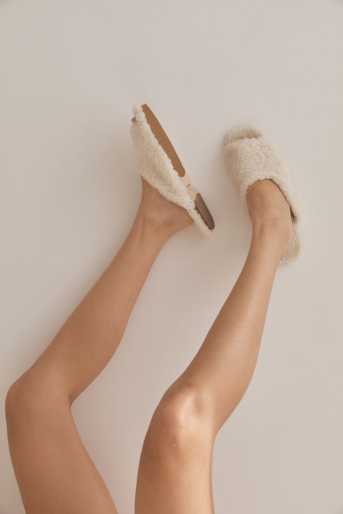 The Shearling Slide - Ecru
