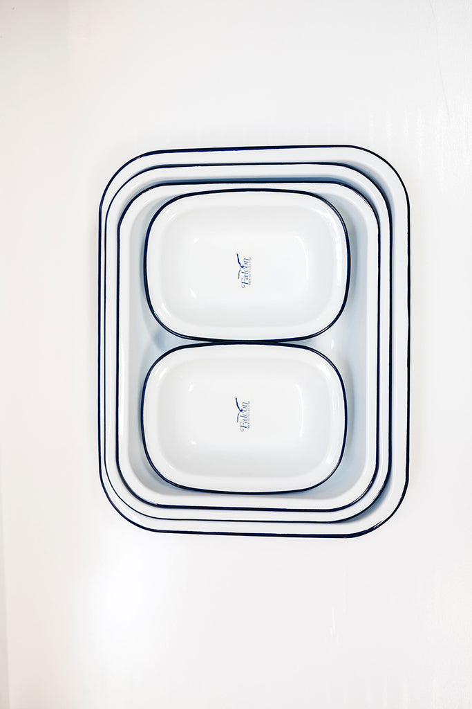 Enamel Baking Set - White/Blue