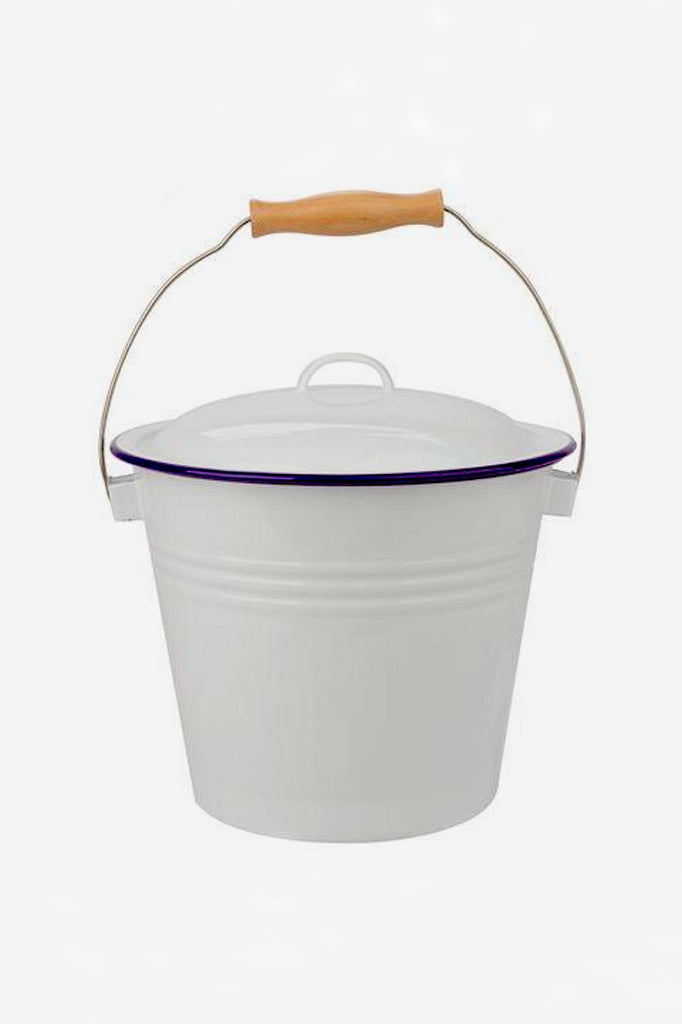 Enamel Bucket with Lid - White/Blue