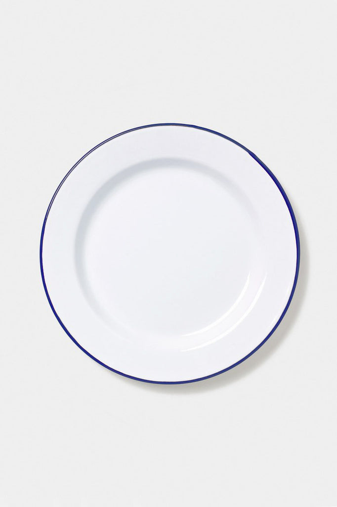 Enamel Dinner Plate (26cm) - White/Blue