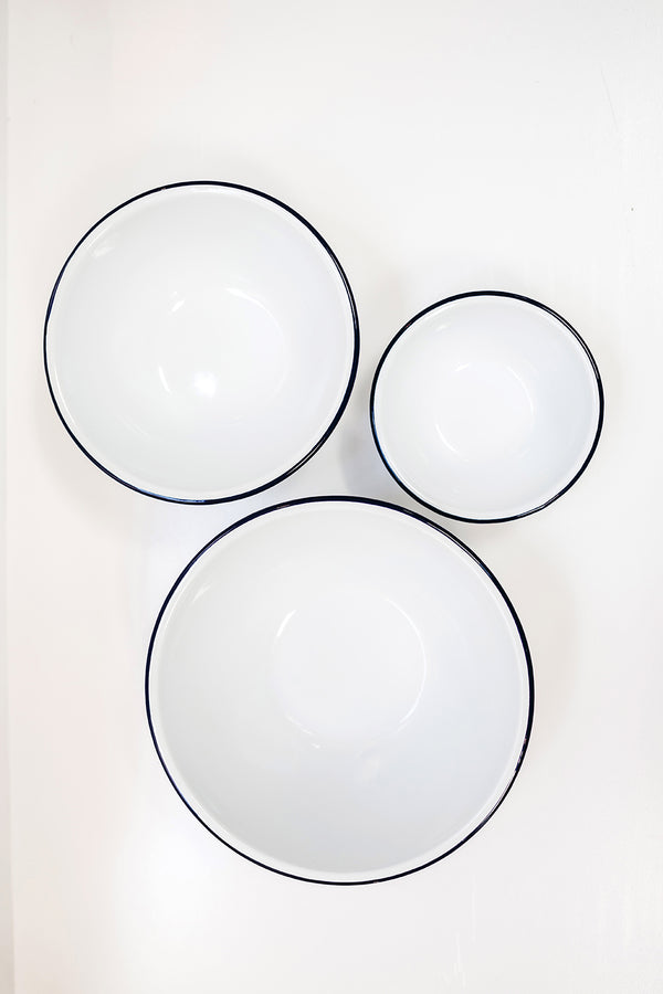 Enamel Mixing Bowls Set of 3 - White/Blue