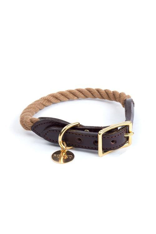 Rope and Leather Cat and Dog Collar - Dark Tan