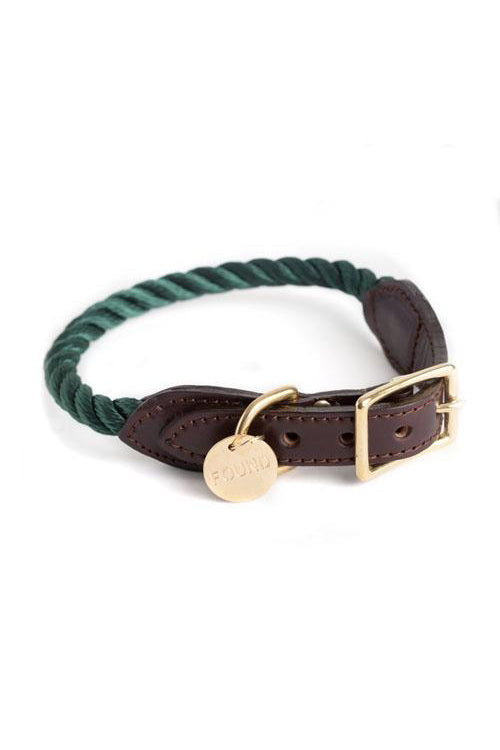 Rope and Leather Cat and Dog Collar - Hunter Green