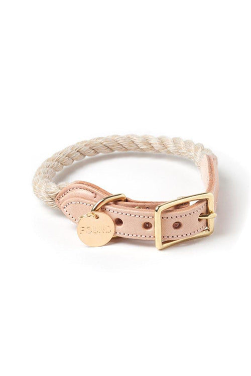 Rope and Leather Cat and Dog Collar - Light Tan