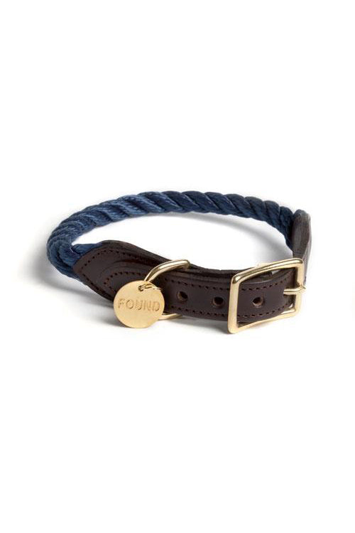 Rope and Leather Cat and Dog Collar - Navy