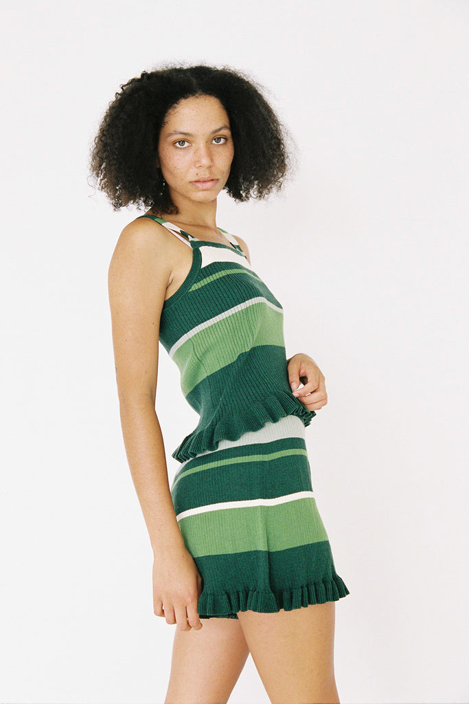 Frill Shorts - Green Stripe