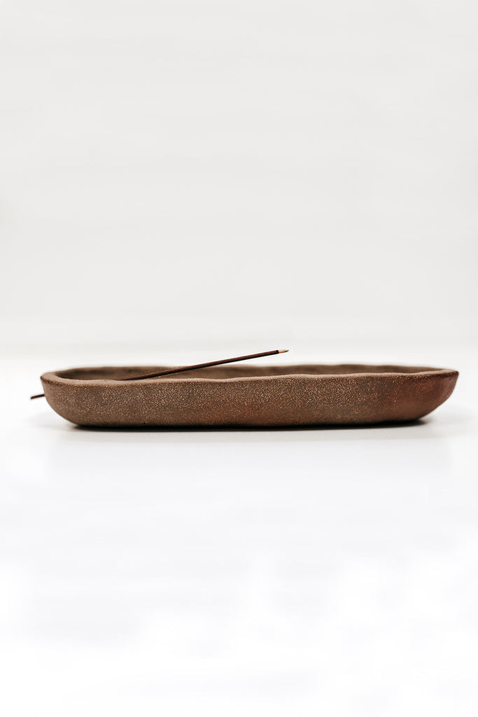 Canoe Burner - Brown Stoneware