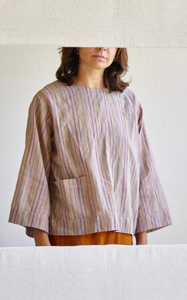 The Painters Blouse - Rainbow striped silk/cotton khadi