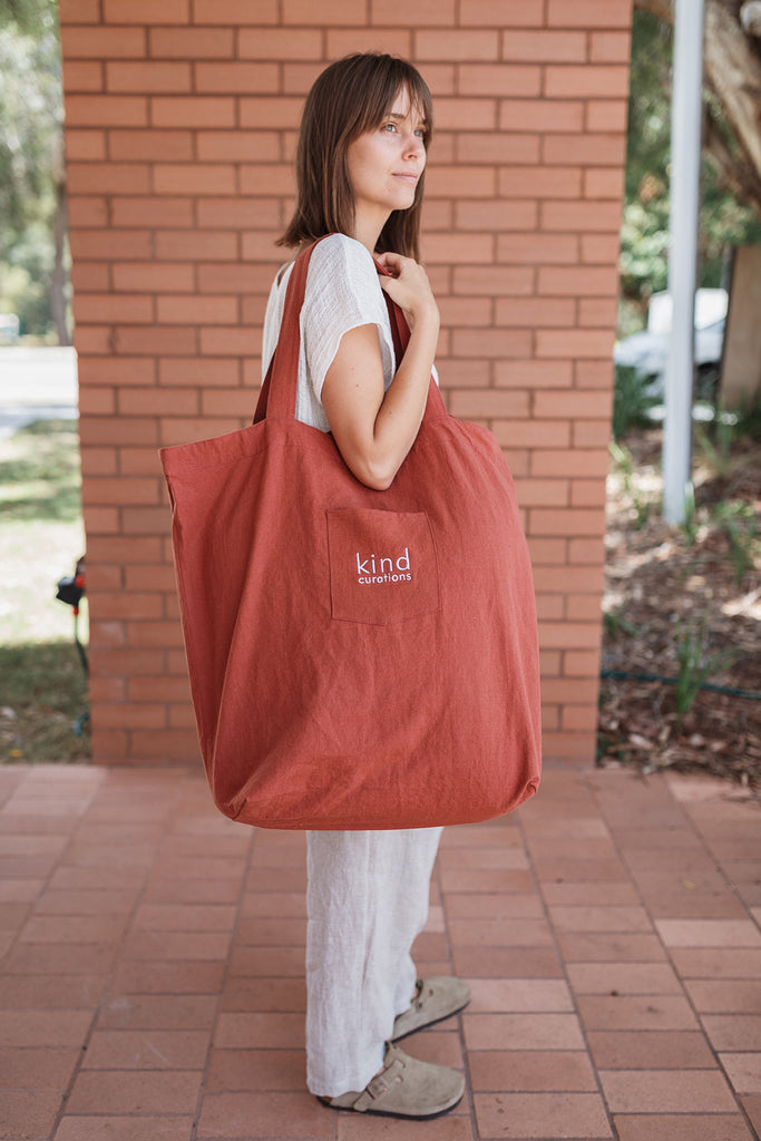 Kind x Worktones Oversized Market Bag - Rust