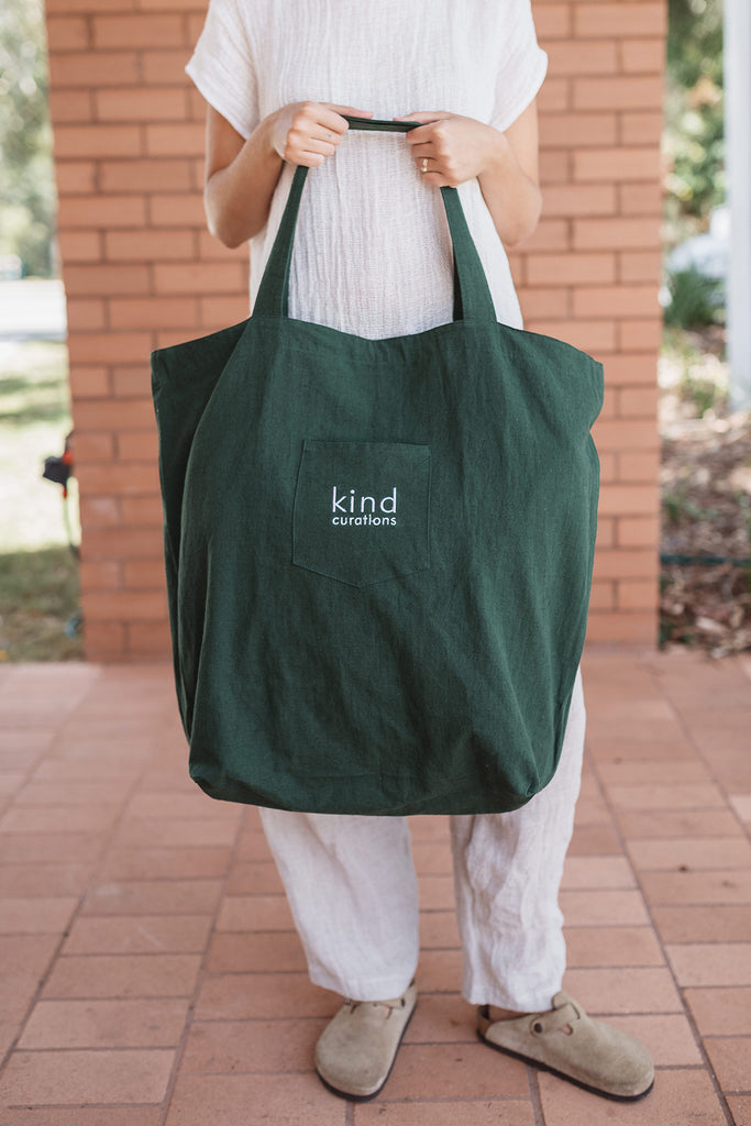 Kind x Worktones Oversized Market Bag - Dark Green