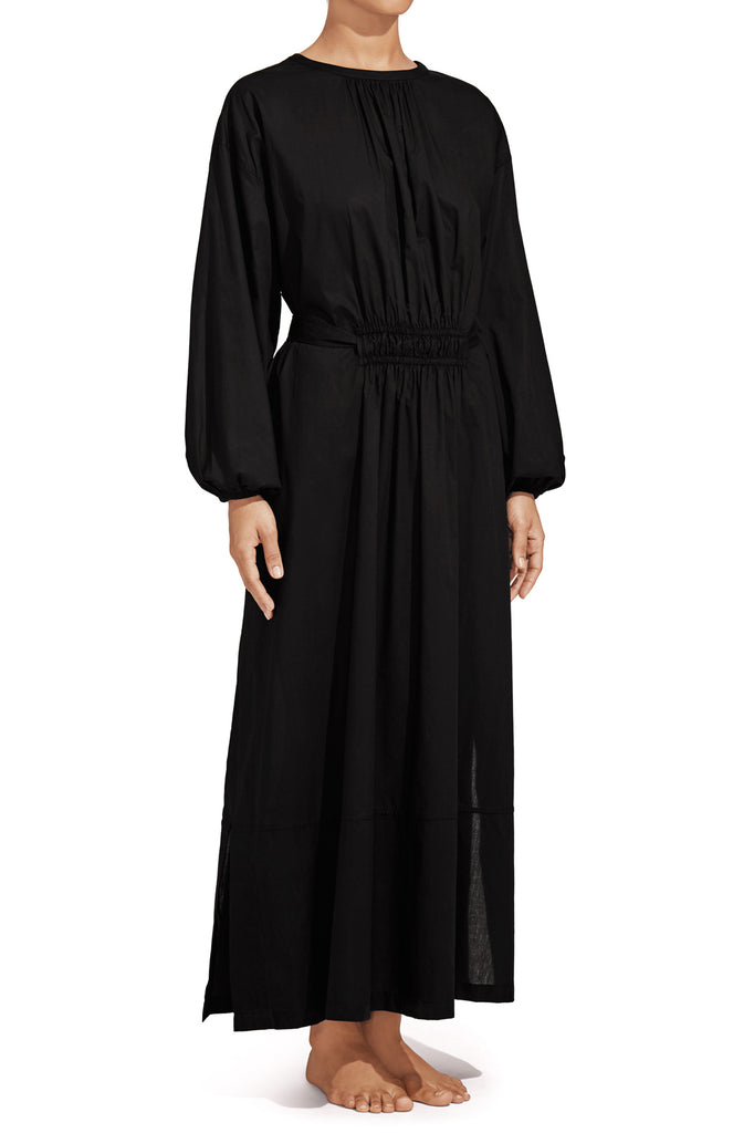 The Long Sleeve Split Dress - Black