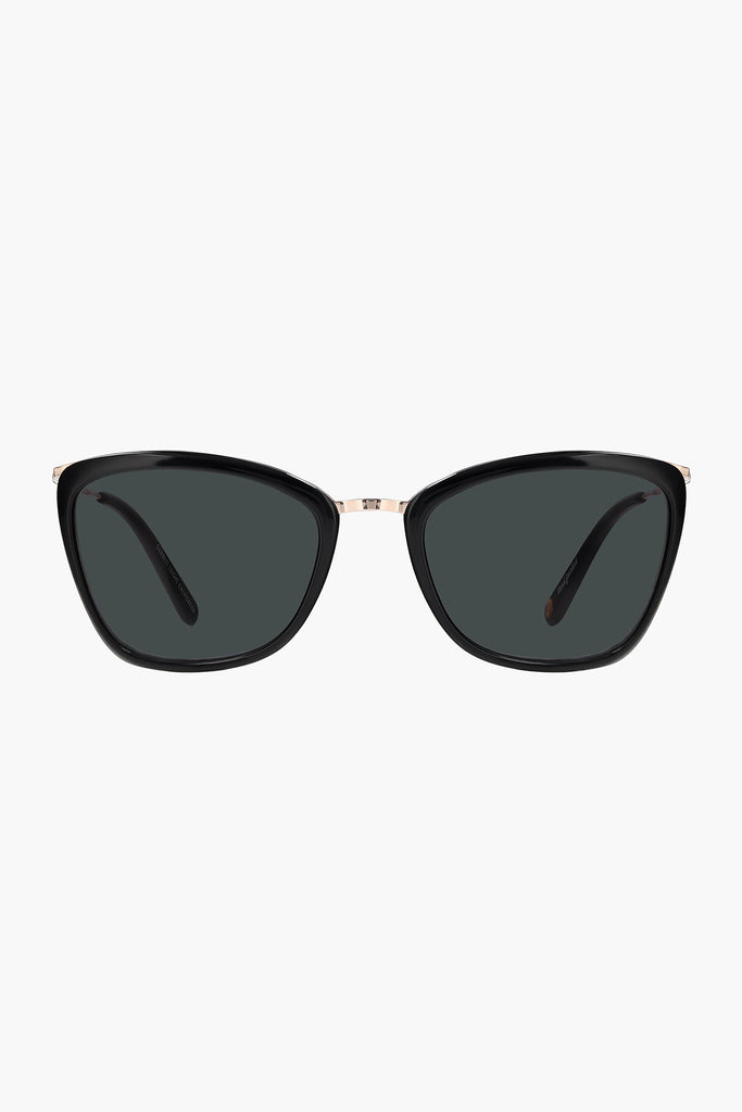 Louella 51 Sunglasses - Black-Gold/Semi-Flat Black