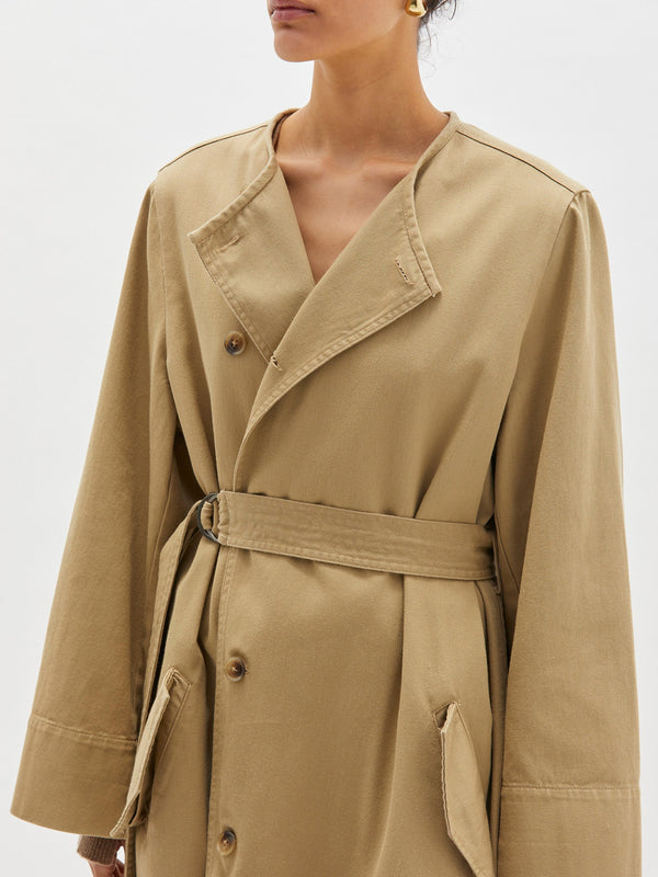 Oversized Cotton Trench - Sand