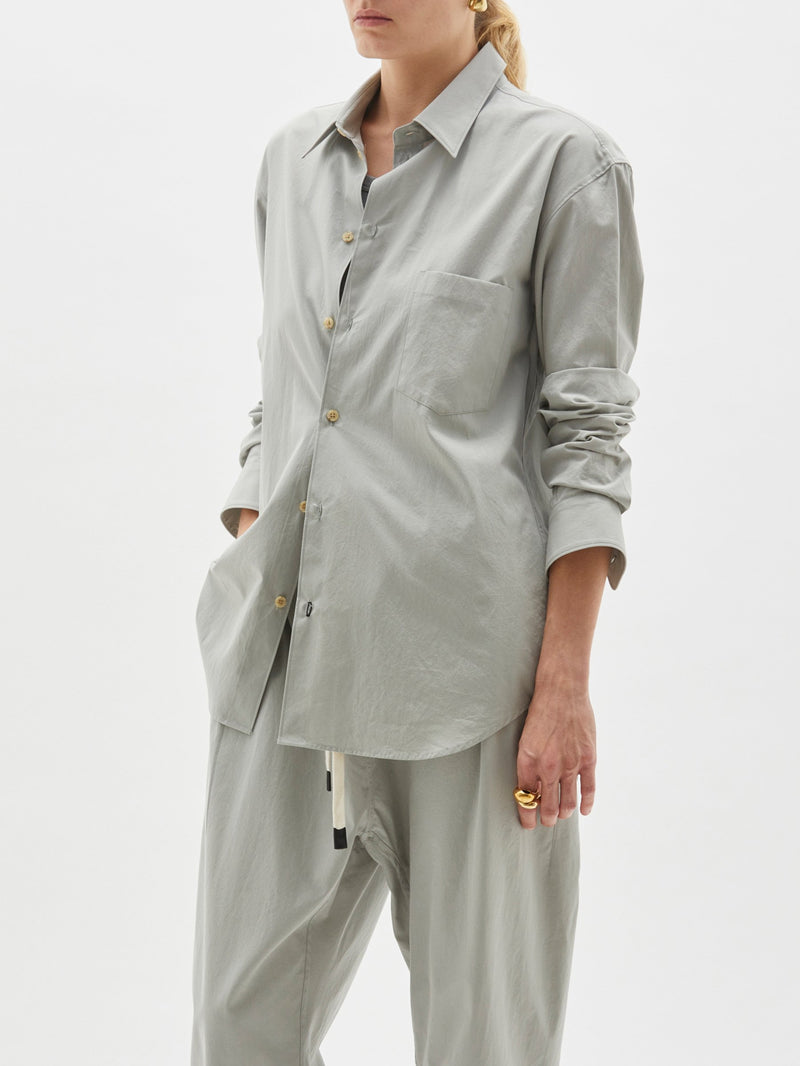 Longerline Cotton Shirt - Light-Grey