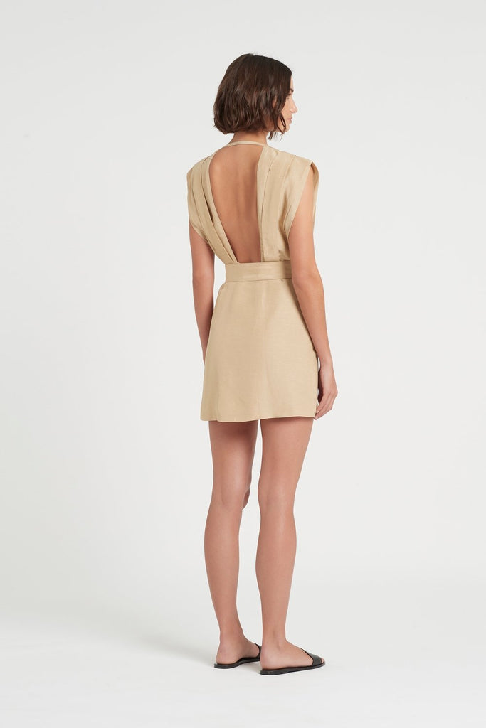 Leon Tucked Mini Dress - Carmelo