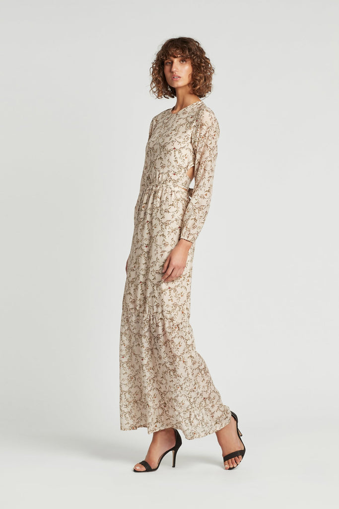 Annalie Long Sleeve Dress-Alba Leaf Print
