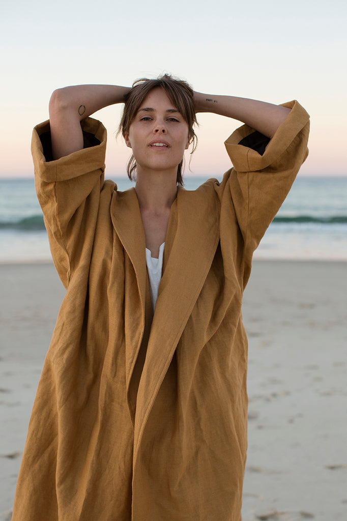Long Linen Coat (One Size) - Tobacco