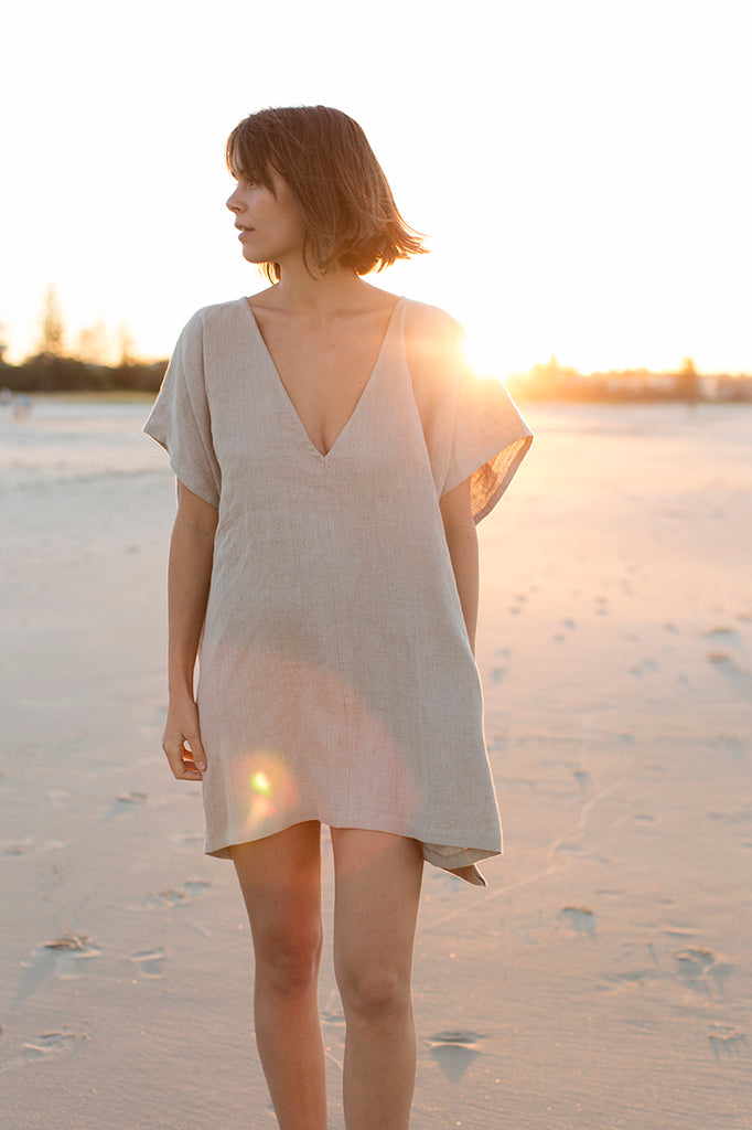 Short Linen Tunic (One Size) - Stone