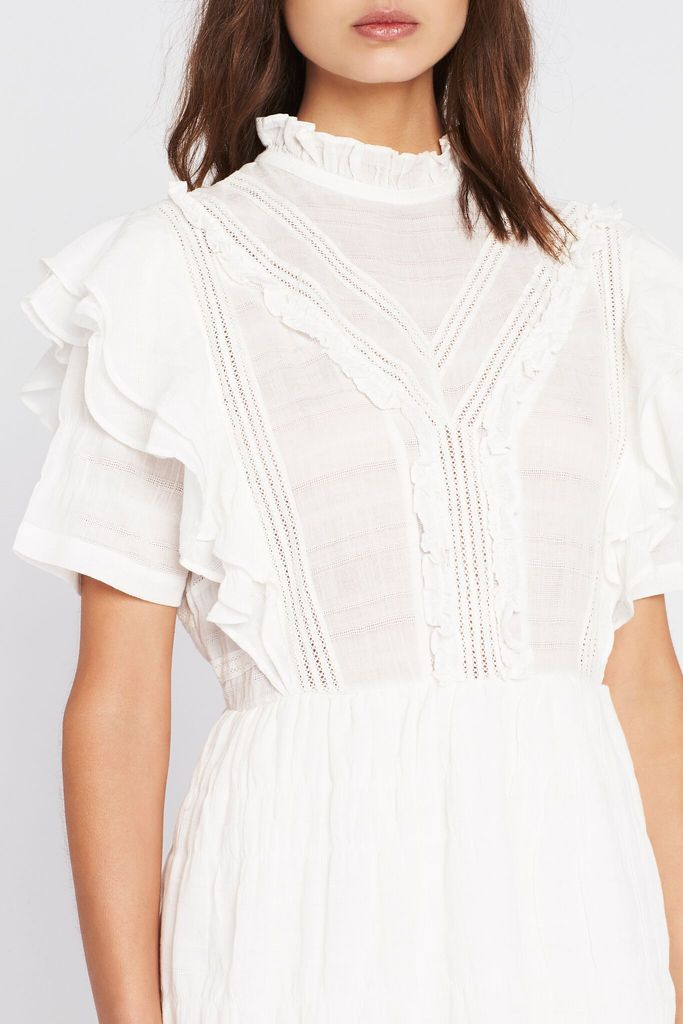 Lucille Embroidered Ruffle Mini - Ivory