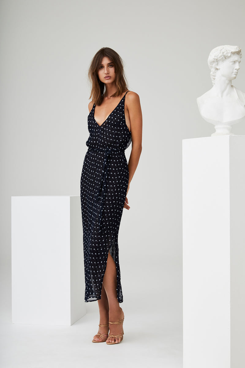 Marceau Midi Dress - Ink Polka Dot