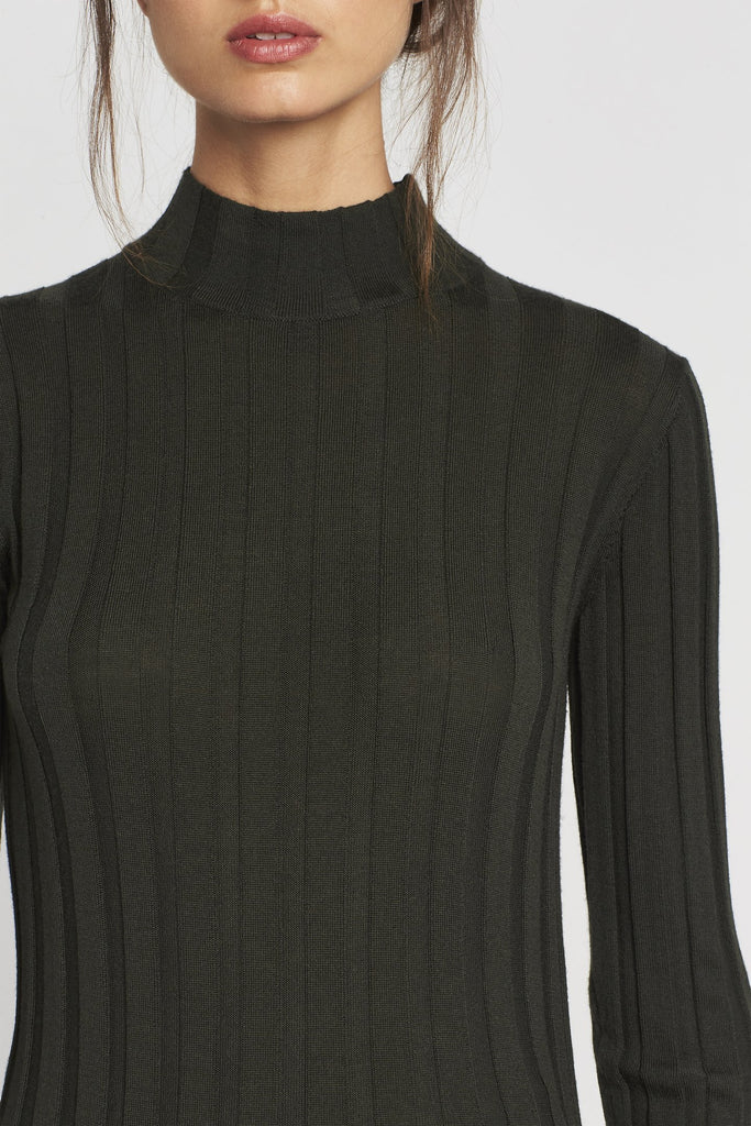 Iona Rib Long Sleeve Top - Olive