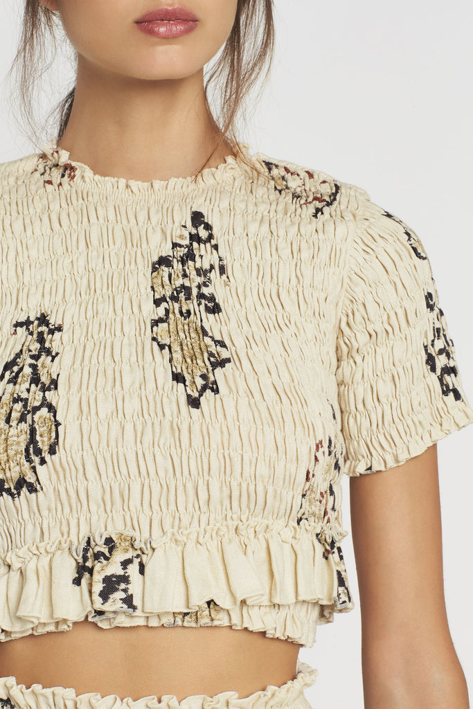 Aster Cropped Tee - Bone Rococo Print