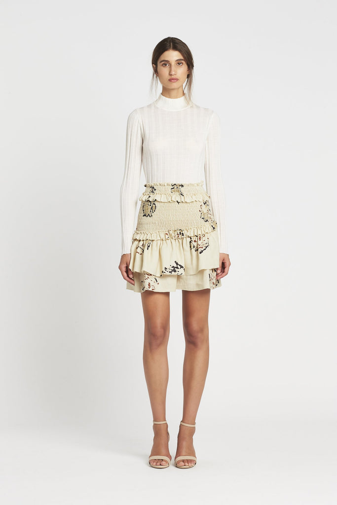 Aster Ruched Skirt - Bone Rococo Print