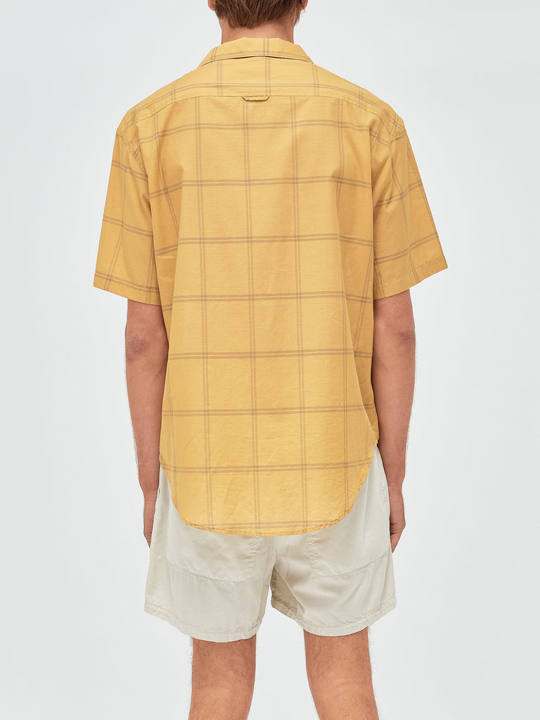 Check Cotton Silk Short Sleeve Shirt - Mustard Check