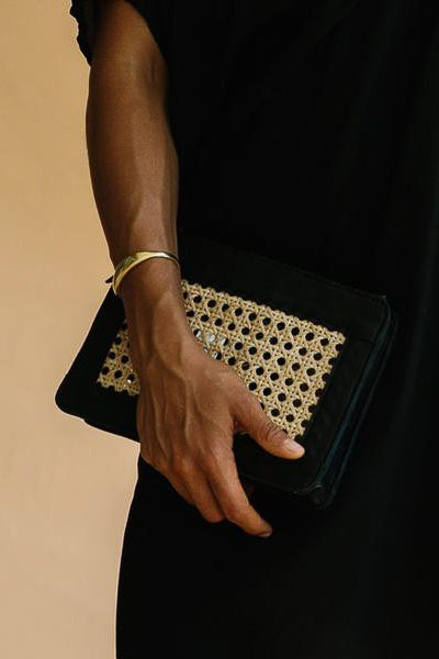 Hennie Rattan Clutch - Black