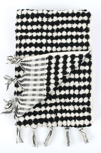 Crescent Hand Towel - Black and White