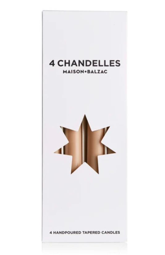 4 chandelles - tapered candles - sable