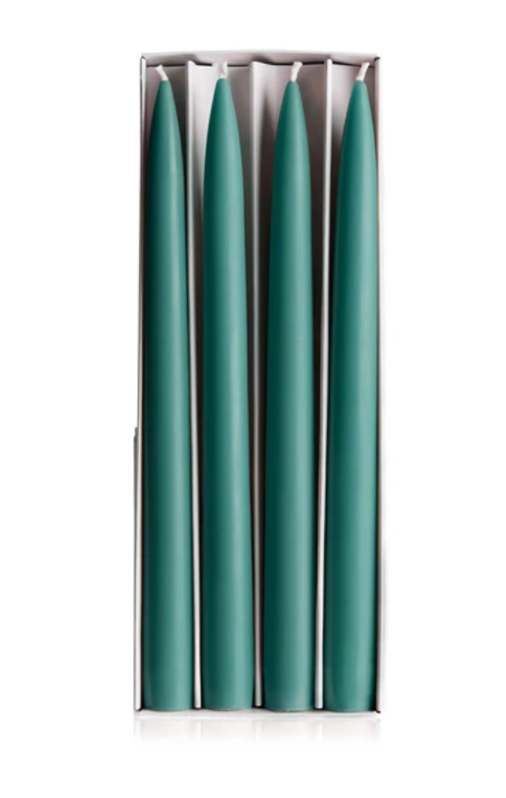 4 chandelles - tapered candles - teal