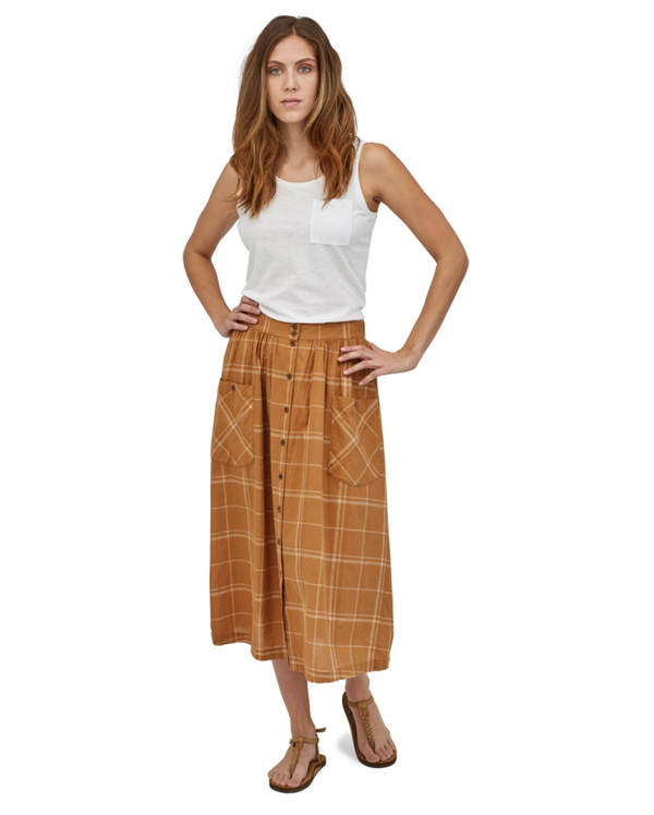 W's LW A/C Skirt - Harvest Windowpane Umber Brown