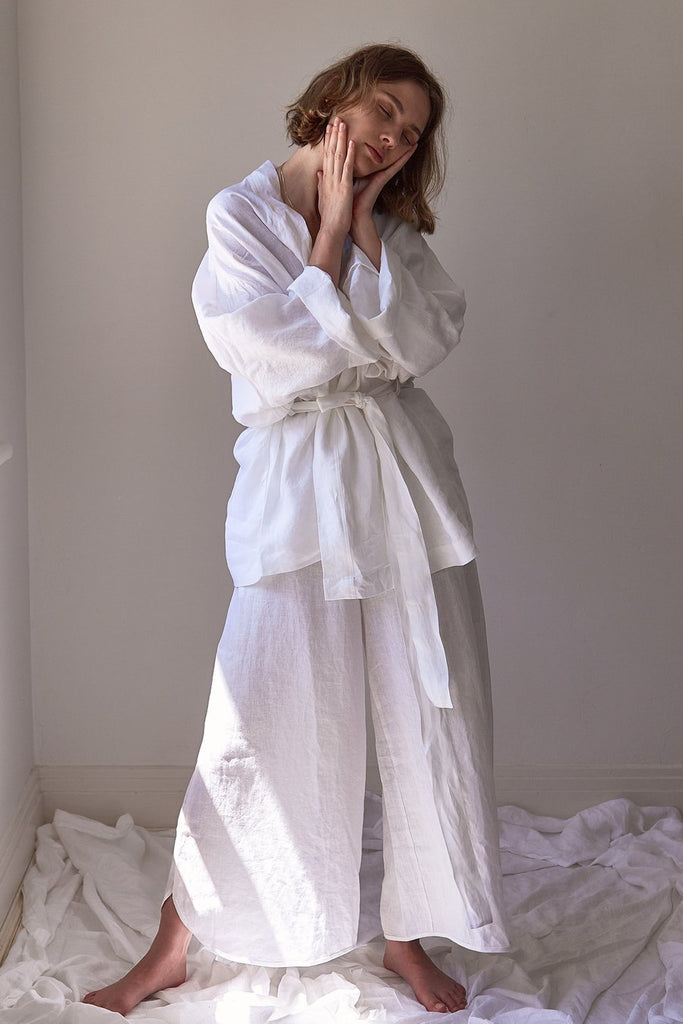 The 01 Loungewear Wide Pant - White