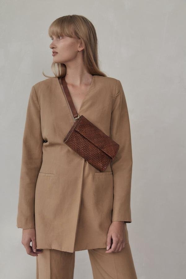 Marcel Woven Belt Bag - Antique Tan