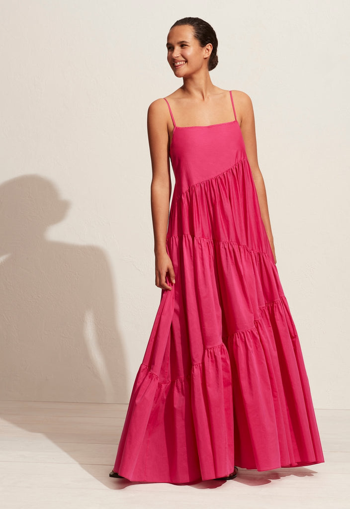 The Asymmetric Tiered Sundress - Fuschia