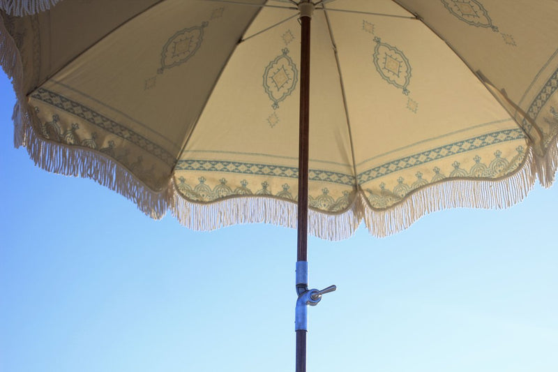 Premium Beach Umbrella - Temple White