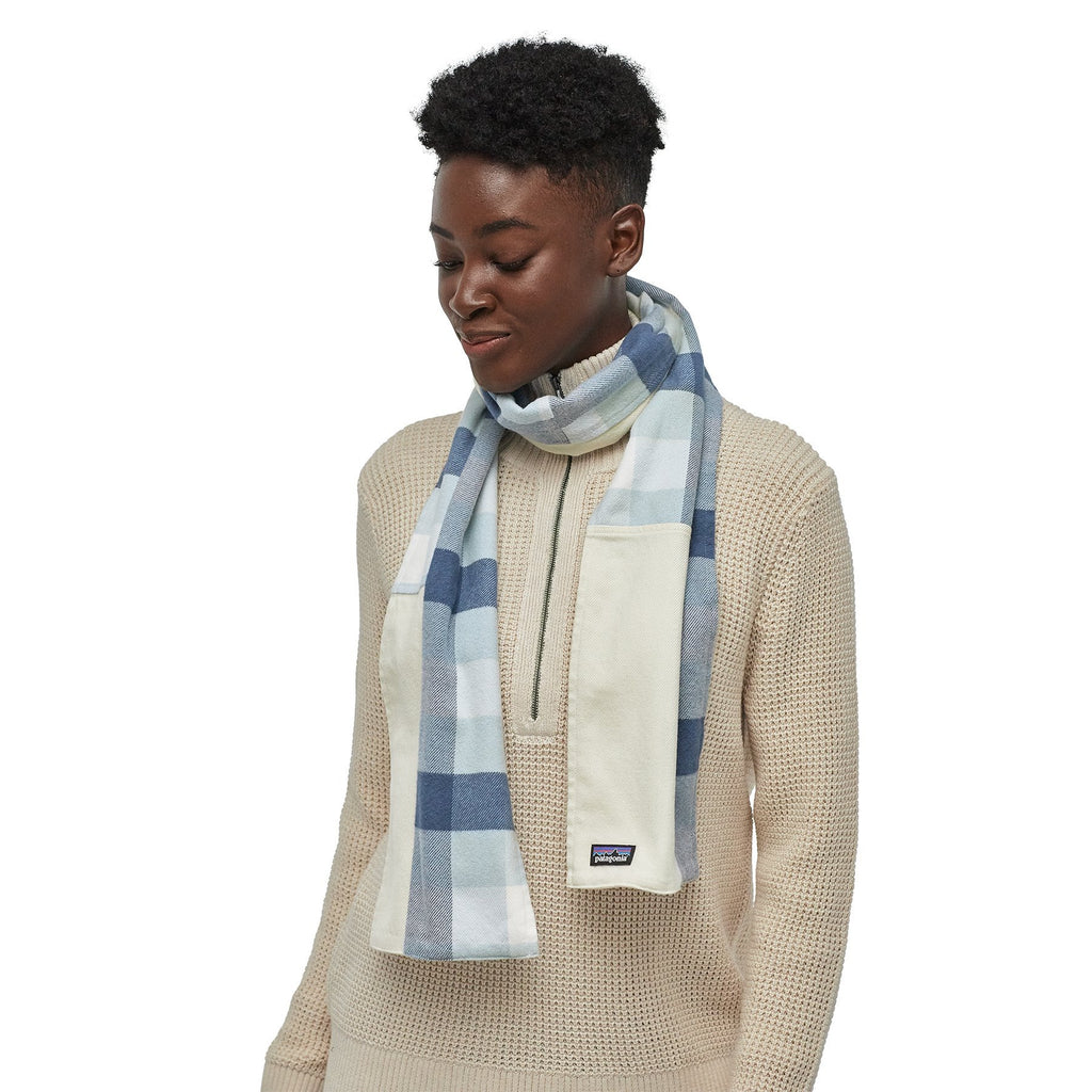 Fjord Flannel Patchwork Scarf - Upriver Woolly Blue