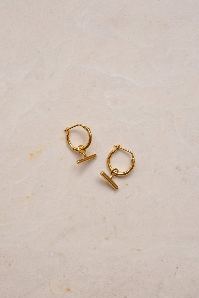 Chloe Sleeper Hoops - 18k gold plated brass