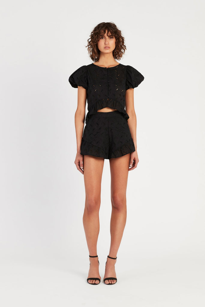 Elodie Ruffle Short - Black