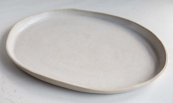 oval serving platter - white on stone