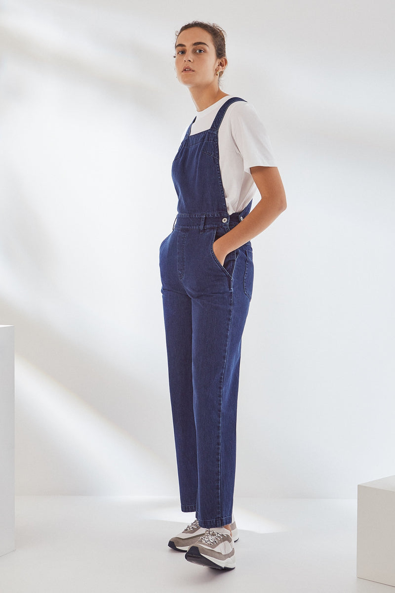 Crossover Dungarees - Mid Blue Denim