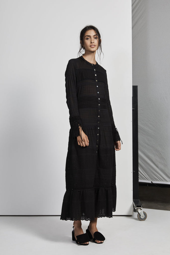 Celié Maxi Shirt Dress - Noir