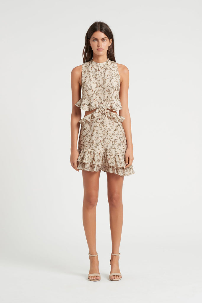Annalie Ruffle Mini Dress – Alba Leaf Print